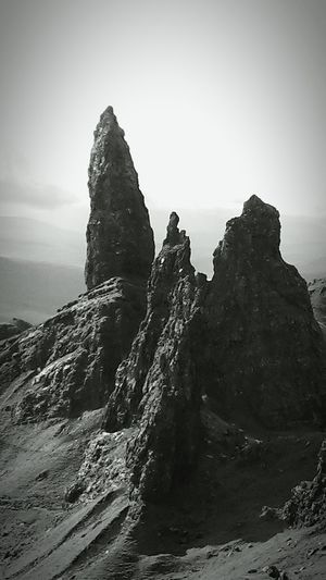 Close up of The Old Man Of Storr. Isle Of Skye Scotland Nature Photography Travel Destinations Learn & Shoot: Simplicity Showcase: November Blackandwhite Monochrome Famous Place Landscapes With WhiteWall