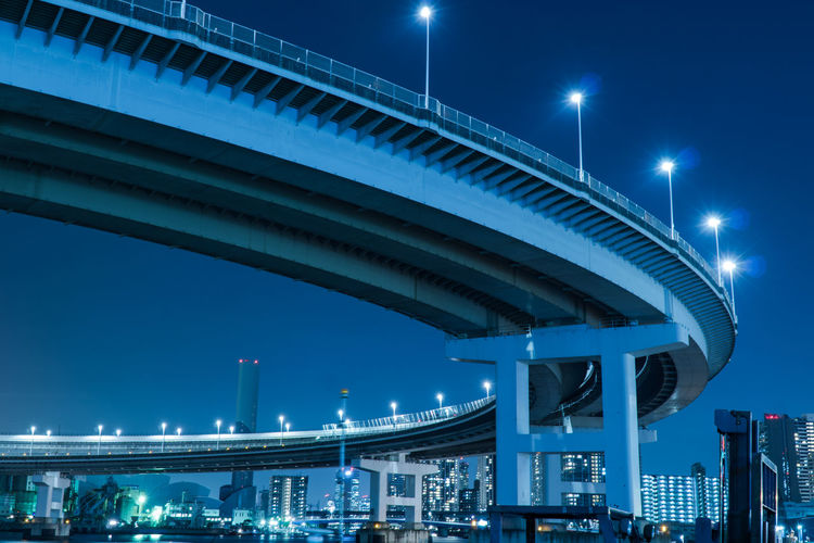 Architectural Column Architecture Blue Bridge Bridge - Man Made Structure Building Exterior Built Structure City Cityscape Connection Elevated Road Engineering Illuminated Light Lighting Equipment Low Angle View Modern Nature Night Office Building Exterior Outdoors Sky Street Street Light Transportation EyeEmNewHere
