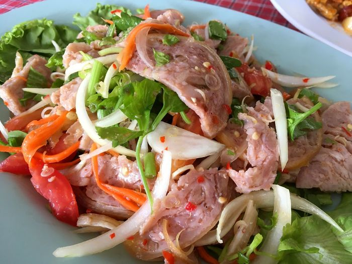 Cuisine Meal Pork Spicy Tamoto Chili  Close-up Delicious Food Food And Drink Freshness Gourmet Healthy Eating Indoors  Lettuce Mix Onion Plate Ready-to-eat Salad Serving Size Thailand Food Vegetable
