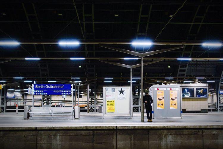 Train Station Nightphotography Night Lights Learn & Shoot: After Dark Waiting Lights And Shadows Neon Lights Alone Lonely Transportation Silence Dark Star in Berlin Germany Black Star Capture Berlin Long Goodbye