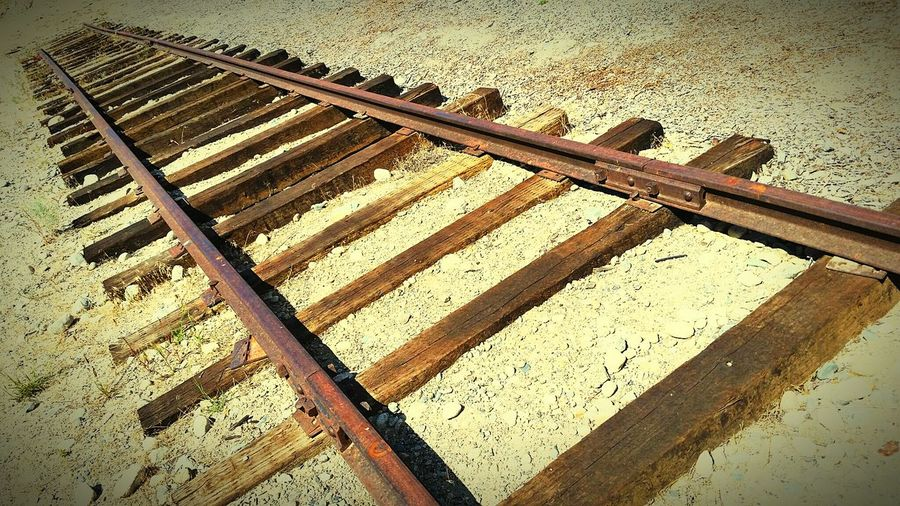 Train Tracks Iron Horses Ties End Of The Line Outdoors Gravel Weathered Out Of Service