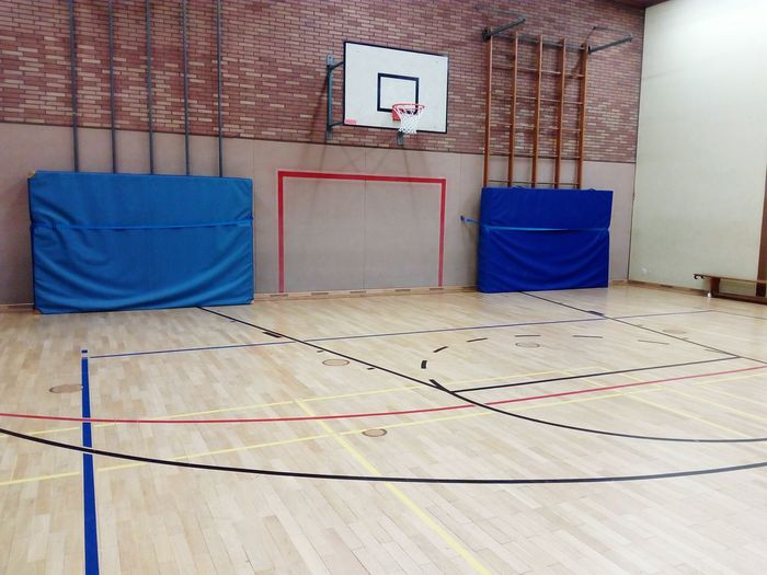 gym indoor sports center Sports Center Goal Playing Field Indoor Indoor Sports Ball Sports Parquet Wooden Paneling Field Line Limit LINE Field Limit Indoors  Gym Sport Exercising No People Basketball - Sport Court Health Club