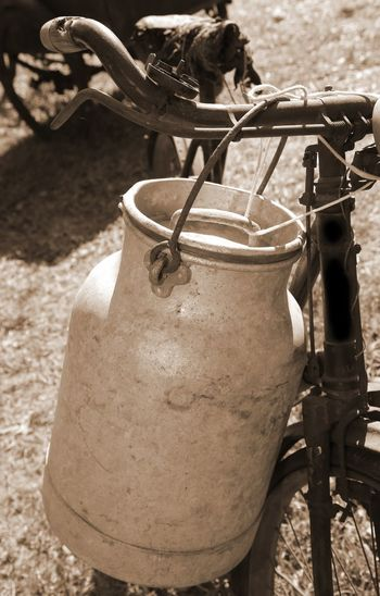 milking bicycle with milk can and ancient Ancient Dairyman Milk Can Milkman Retro Transport Wheel Bicycle Bicycling Bike Bin Can Cycling Drink Milk Milk Chocolate Milk Churn Milking Milkman Truck Old Tranport Vintage