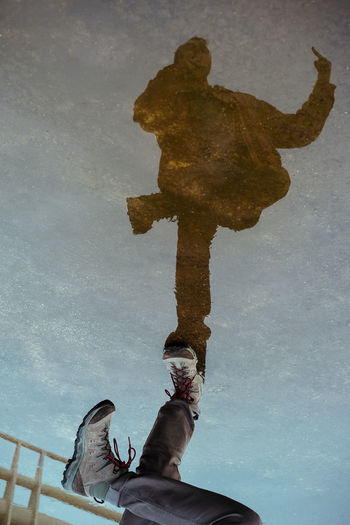 Reflection Puddle Legs One Person Standing Standing On One Leg Boots