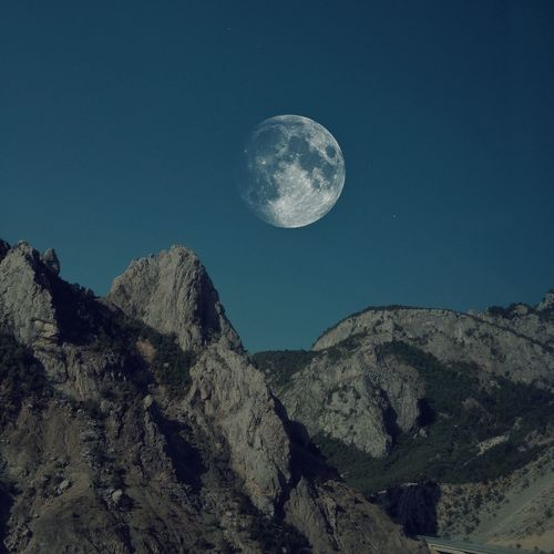 Moon and mountains Albanian Albanian View Skyporn Mountains Star - Space Star Stars Moon Shots Moon_collection Moon Light Moonlight EyeEm Tranquility No People Blue Astronomy Mountain Outdoors Full Moon Rock Majestic Tranquil Scene