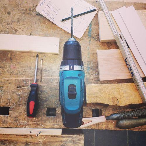 Drilling Machine Wood Workshop Build Carpentry DIY Flat Lay Wooden