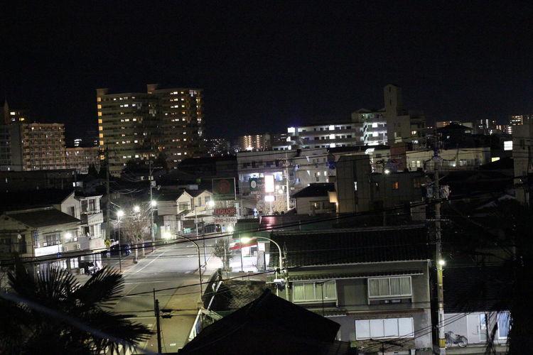 窓からの風景 いつもの夜景が思いのほか綺麗に撮れた(*^◯^*)