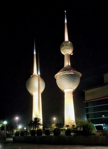 At night... Gulf Middleeast Middle East Kuwaitstreetphotography Kuwaitinstagram Kuwait Towers Kuwait