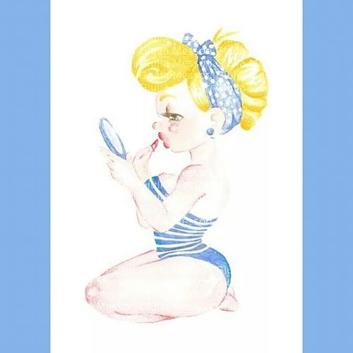 Pinup summer time 👠💄💕 Pinup Girl Girly Makeup Redlips Red Blue Summer Summertime Style Mirrow Art Artworks Watercolors  Draw Drawings Ragazza Trucco Rossetto Specchio Estate Blu rosso acquerelli mare