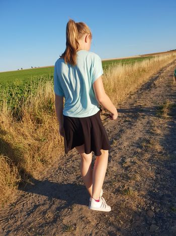 Daughter My Daughter Outside Nature EyeEm Nature Lover Silence Moment Idylic View Beauty In Nature Summer Dress Evening Walk EyeEm Here Sky Evening Sky Walking No Animal Shadow Cereal Plant Rural Scene Child Blond Hair Standing Agriculture Girls Field Crop  Childhood