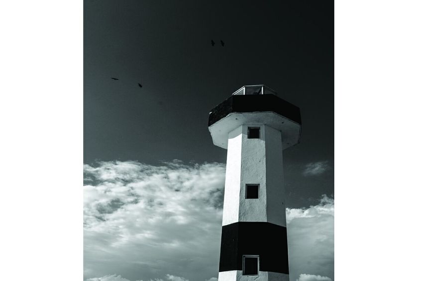 Huatulco Beach Photography Lighthouse Black & White Birds Sky And Clouds