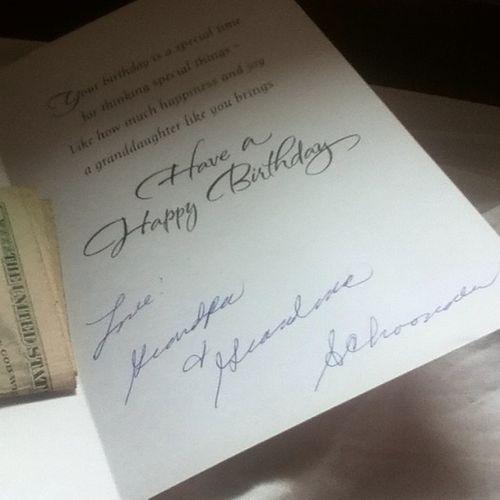 A day early but thanks gma&Gpa❤ Birthdaycard Dayearly Money Cash thanks grandpa grandma birthdaytomorrow