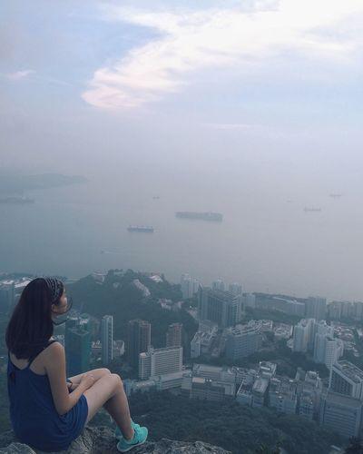 High Angle View Of Girl And City