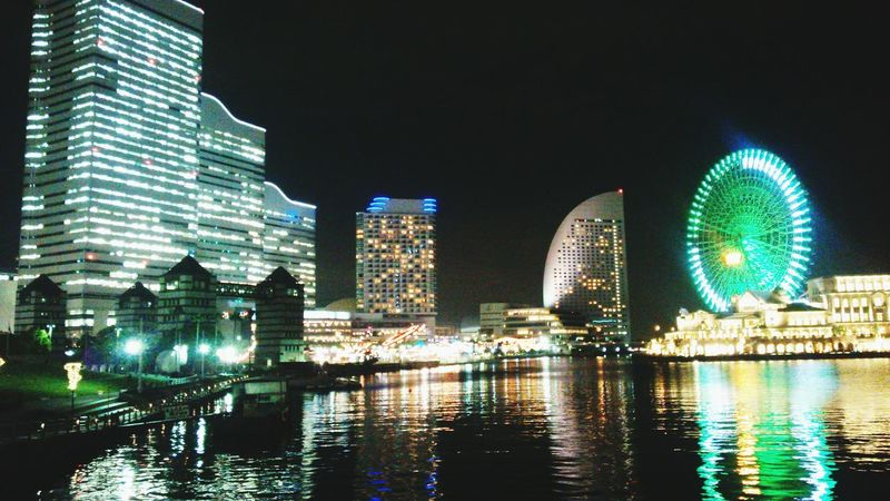 Illuminated Architecture Night Building Exterior Built Structure City Water Waterfront Cityscape Office Building City Life Japan Night View Famous Place Night Sea Yokohama Yokohama City