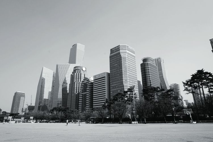 grey island Cityscape Highrises Parkside Seoul, Korea Black & White Travel Workplace Buildings Island Of Buildings Architecture City