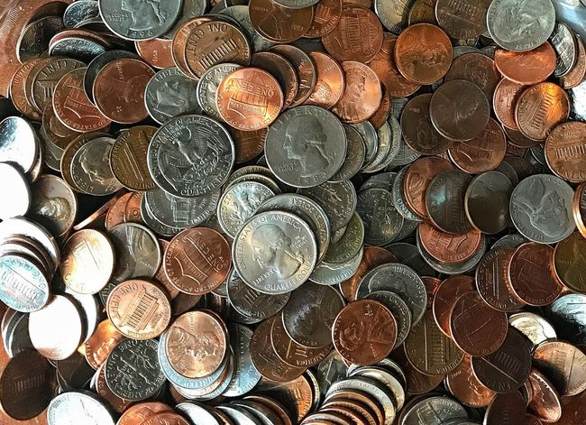 Abundance Finance Large Group Of Objects Stack Full Frame Wealth Coin Backgrounds No People Close-up Money Quarters Pennies Nickels Dimes American U.S. Savings Piggy Bank Change