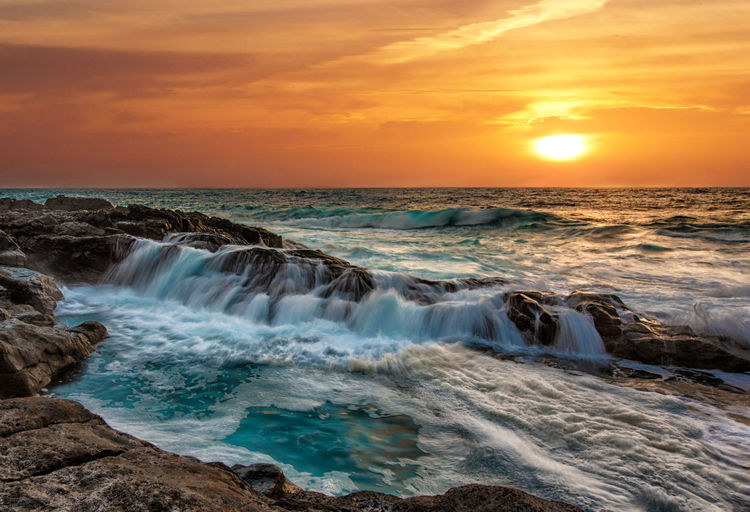 Nature Nikon Beauty In Nature Cloud - Sky Day Horizon Over Water Idyllic Long Exposure Motion Nature No People Ocean Outdoors Power In Nature Rocks Scenics Sea Seascape Sky Sunset Tranquil Scene Tranquility Travel Destinations Water Wave Waves