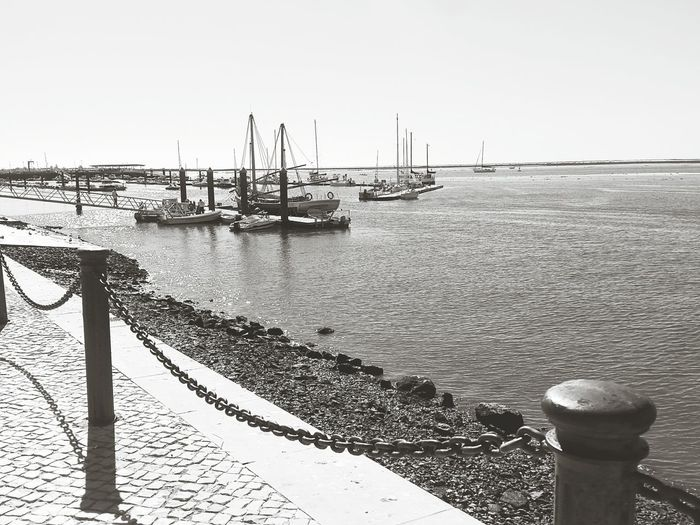 Sea Beach Nautical Vessel Pier Sky Water Sunlight Horizon Over Water Day Tranquility Tranquil Scene Travel Destinations Sailing Ship Beauty In Nature Portugal Algarve Olhao