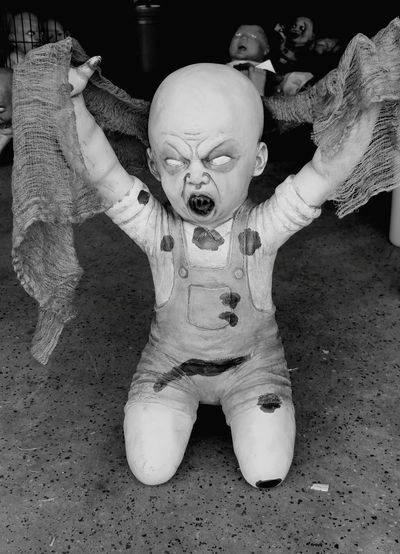 Zombie Clyde Halloween Black And White Zombie Zombie Baby BLOODY Scary Creepy Scream Nightmare Child Childhood Human Hand Baby Doll Arms Raised Limb Arms Outstretched
