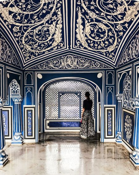 Blue Color India Travel Photography Arch Architecture Art And Craft Blue Building Built Structure Ceiling Day Design Flooring Floral Pattern Incredible India Indoors  Lifestyles Luxury Mural One Person Ornate Pattern Real People Travel Destinations Window
