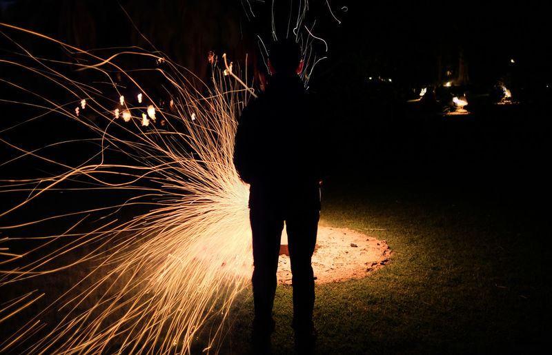Arts Culture And Entertainment Blurred Motion Burning Fire Fire Gardens Firework Heat - Temperature Illuminated Long Exposure Melbourne Motion Night One Person Outdoors Real People Sparkler Sparks Standing A New Perspective On Life Capture Tomorrow