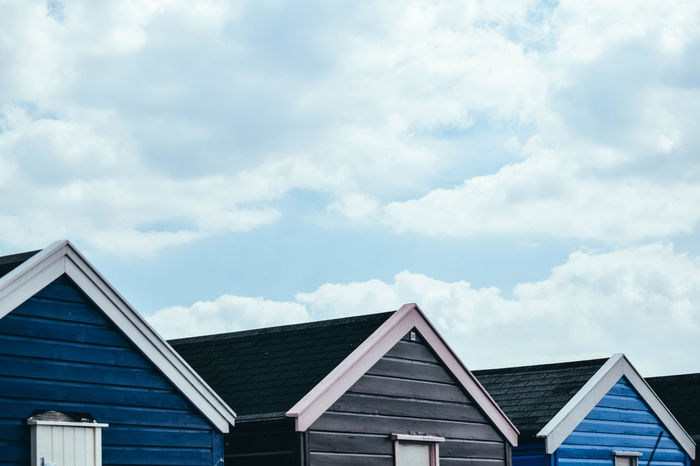 Apex At The Seaside Beach Photography Beach Huts And Sky Coastline Architecture At The Beach Beach Houses  Beach Huts Beachscape Building Exterior Built Structure Cloud - Sky Day Low Angle View Nature No People On The Beach Outdoors Roof Sky Timber Frame Timber Framed