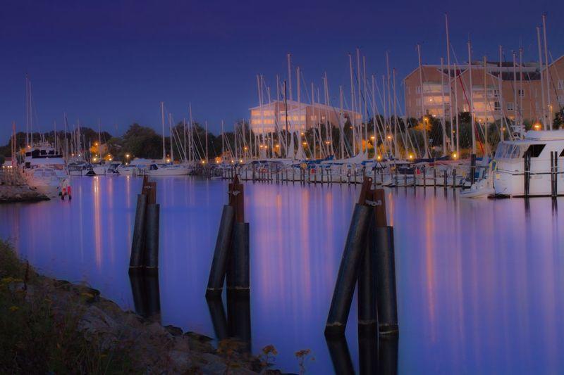 Boat Water Night Sailboat Mast Marina Blue