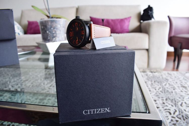 Citizen Eco-Drive on its box Eco Drive Citizen Watches Watch EyeEm Selects Indoors  Furniture Focus On Foreground Sofa Home Interior No People Close-up Living Room Domestic Room