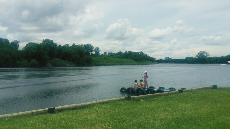 River time Blue Day Moored Beauty In Nature Tranquility Outdoors Shadows & Lights People People On Jetty Vaal River South Africa Is Amazing Green Grass Scenics Landscape Nature Weather Water Grass Childhood Memories Vaal River, Orkney South Africa