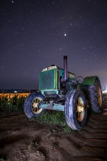 John deer Night Star - Space Astronomy Star Field Transportation Long Exposure Sky Field Constellation Mode Of Transport Land Vehicle Milky Way Galaxy Illuminated Outdoors Clear Sky Space Nature Rural Scene Astrology Sign