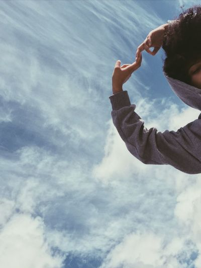 Cloud - Sky Sky One Person Low Angle View Real People Day This Is Natural Beauty Nature Lifestyles Leisure Activity Outdoors Adult Waist Up Casual Clothing Clothing Young Adult Hand Men Women Young Men Capture Tomorrow My Best Photo