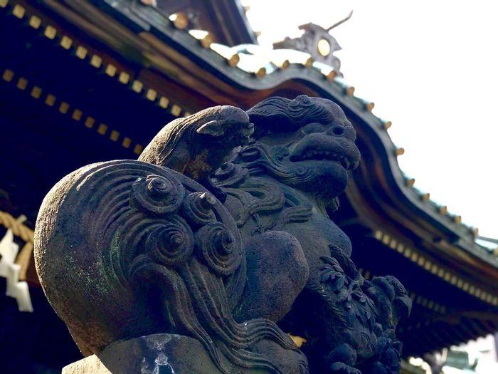 狛犬コレクション Gurdian Dogs Japanese Shrine Architecture Built Structure Representation Art And Craft Animal Representation Building Exterior Belief Low Angle View Day Religion No People Spirituality Statue Outdoors