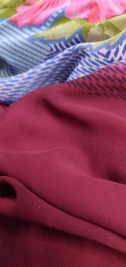 Multi Colored Backgrounds Textile Red Close-up
