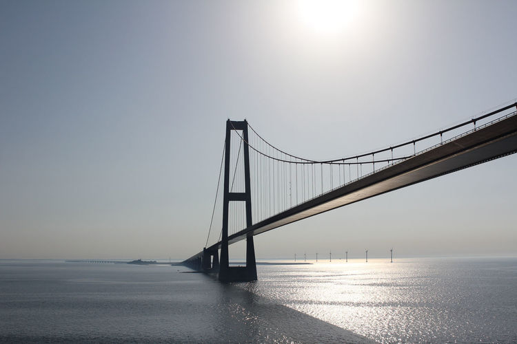 Low Angle View Of Bridge Over Sea Against Clear Sky On Sunny Day