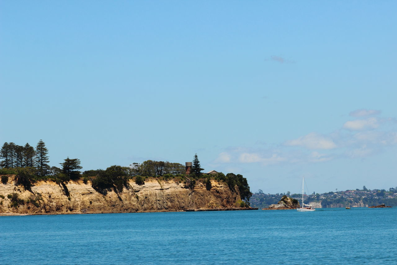 Auckland Clear Sky Coastline Sailing Ship Tree Architecture Beauty In Nature Blue Sky Cliff Day Nature New Zealand No People Ocean Outdoors Sailing Scenery Sea Sky View Into Land Water Waterfront