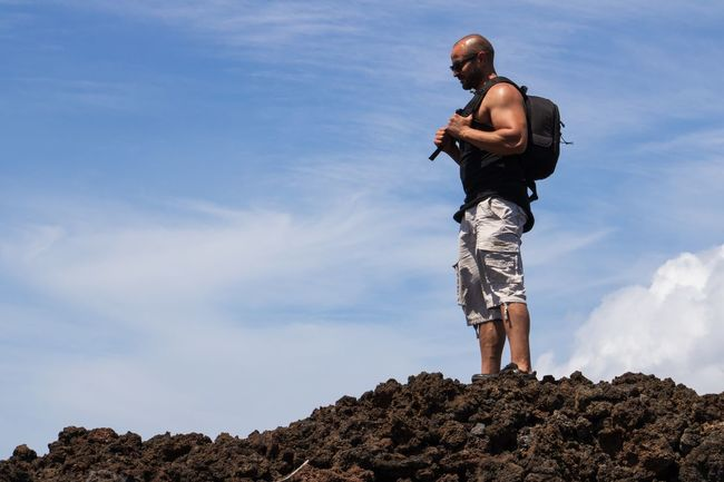 Lava fields of Hawaii La Perouse Lava Maui Hawaii Sky One Person Men Lifestyles Standing Real People Leisure Activity Rock Young Adult Solid Outdoors