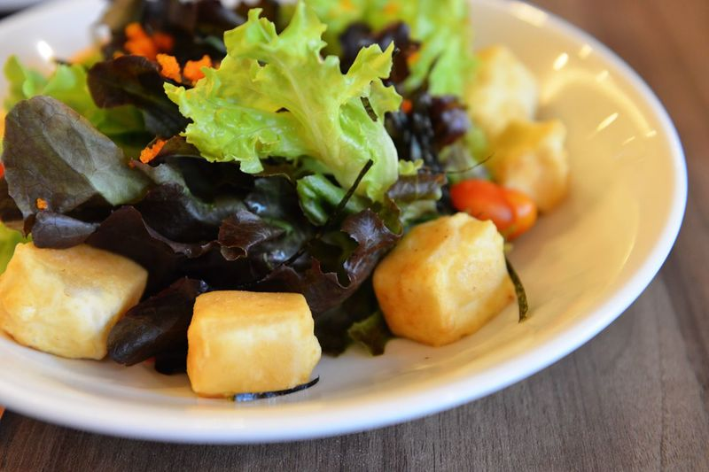 Freshness Food Food And Drink Close-up Indoors  Healthy Eating Plate No People Ready-to-eat Day Tofu Salad Vegetable Greens