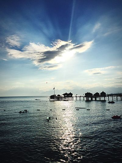 Sea Sky Water Cloud - Sky Beauty In Nature Horizon Over Water Nature Outdoors Sunlight Tranquility Beach Scenics Day Blue No People Nautical Vessel Architecture Turkey Antalya Whatapity