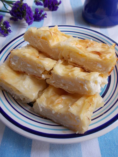 Baking Blue Plate Desert Food Fresh Cheese  Homemade Kitchen Recipe Photo Strudel Sweet Vertical