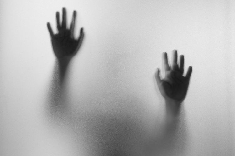 Shadow hands of the Man behind frosted glass.Blurry hand abstraction.Halloween background.Black and white picture Abstract Adult Adults Only Back Lit Day Fog Frosted Glass Halloween Handprint Horror Human Body Part Human Hand Indoors  Mystery One Person Palm People Shadow Silhouette Spooky Terrified Touching Trapped Unrecognizable Person Women