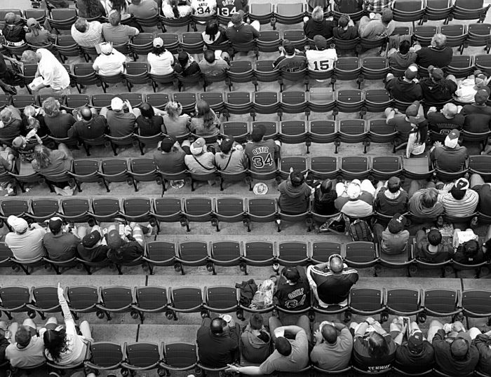 Empty Seats Looking Down From Above at Fenway Park, Boston EyeEm Best Shots S6 B&w Edit EyeEm Best Shots - Black + White Black And White Photography Sox Vs. Rays Red Sox Nation Edit No. 3 A Bird's Eye View