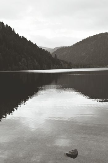 Lac de Longemer Lake Mountain Landscape Reflection Water Black And White No People Beauty In Nature Outdoors Horizontal Nature Sky Tree Vosges Lorraine France Longemer