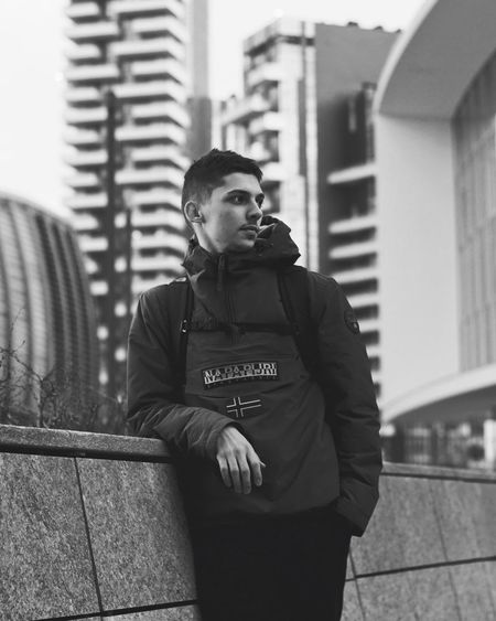 Chill Portrait Blackandwhite Likeback Likes Like Chill Outdoors Jacket Casual Clothing Mid Adult Men Day Leisure Activity Focus On Foreground City Lifestyles Standing Young Adult People