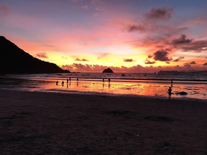 Sunset at Selong Belanak Beach, Lombok Island Indonesia INDONESIA Lombok Selong Belanak, Lombok Beach Sky Water Sea Sunset Land Scenics - Nature First Eyeem Photo