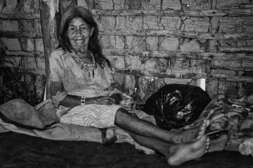 Retratos Guaranis. Indian Indian Culture  Nature Rio Silveira Indian Reservation Travel Photography Adult Aldeia Guarani Black And White Day Elderly Woman Guarani Indian Guarani Village Guarani Woman Indigenous Necklace Indigenous Reservation Indigenous Woman Lifestyles Looking At Camera One Person People Portrait Praia De Boraceia Real People Sitting