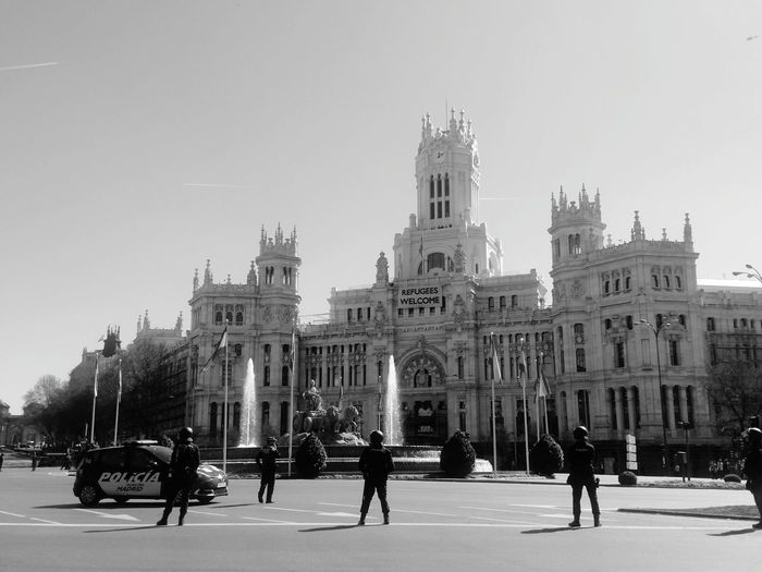 Government Travel Travel Destinations City Politics And Government SPAIN Madrid City Life Walking Around Streetphotography Police Force Outdoors Blackandwhite Ayuntamiento Public Building