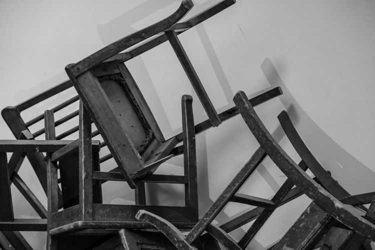 Abandoned Architecture Blackandwhite Built Structure Chair Dark Grunge No People School Shadows