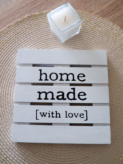 Home Made With Love White White Colors Candle One Candle Text Love Home Made Wood - Material Item Cream Black Text With Love Close Up