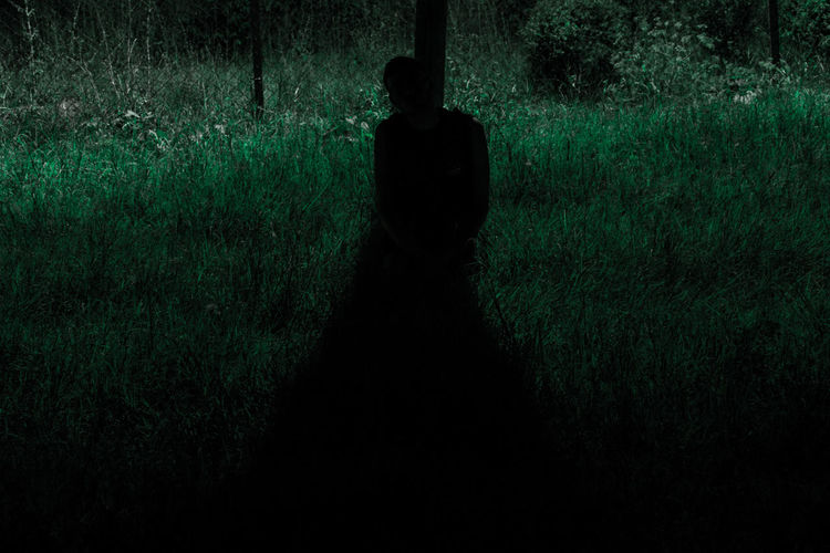 Rear view of silhouette man standing on field at night
