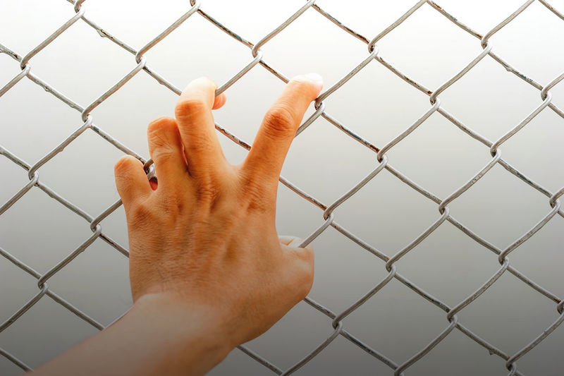Hand holding on chain link fence. Designed for white backgrounds. Barrier Body Part Boundary Chainlink Fence Close-up Day Fence Finger Hand Human Body Part Human Finger Human Hand Human Limb Indoors  Metal One Person Personal Perspective Real People Touching Unrecognizable Person